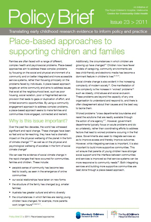 Place Based Approaches To Supporting Children And Families