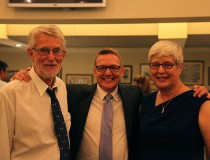 Dr Keith Waters and Dr Karin Tiedemann at their retirement dinner last week with Dr Peter Downie.